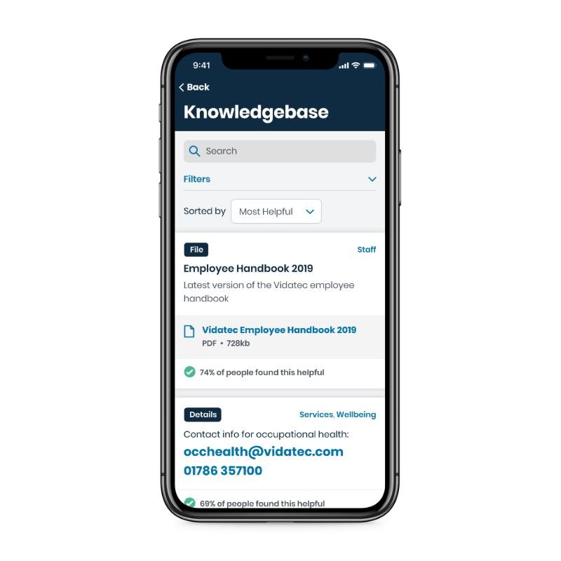 Knowledge app screen