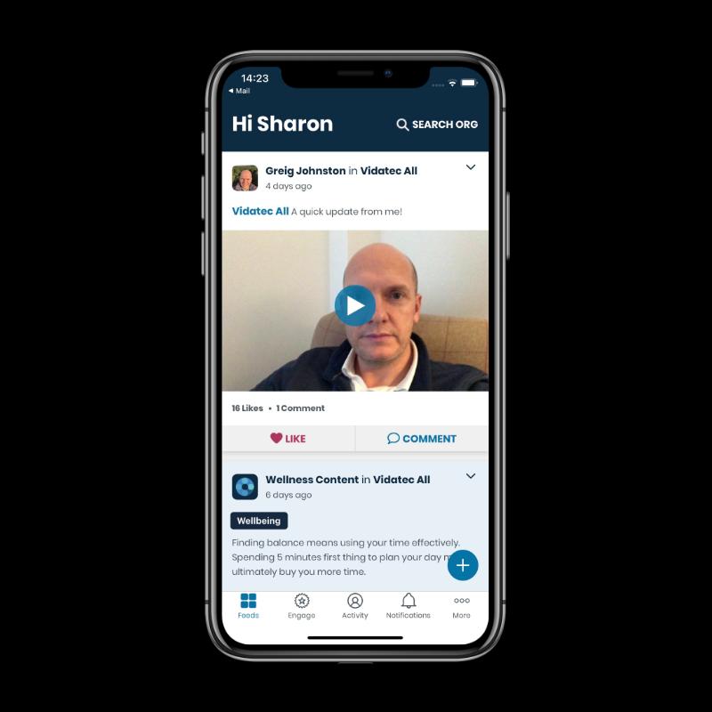 Video notice app screen